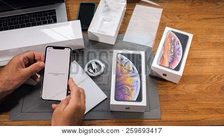 Paris, France - September 21, 2018 Apple Fan Boy Unboxing Latest New Apple Iphone Xs Max And Xs Flag