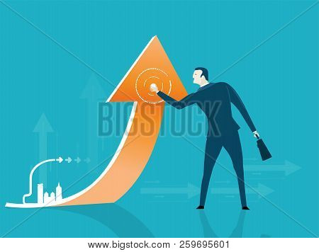 Businessmen Holding Up Arrow, Representing The Growth And Success In Business. Advisory, Support And