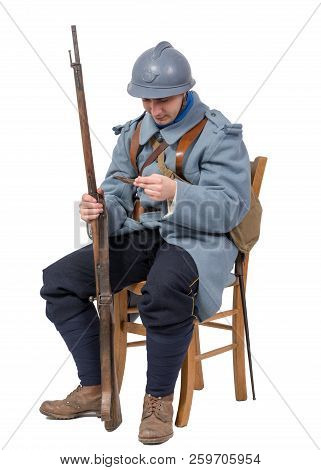 French Soldier 1914 1918, Sitting On Chair, Reading Letter Isolated On White Background