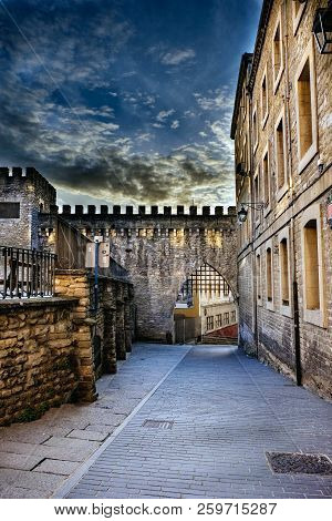 High Dynamic Range Photograph Of A Street In The Old Part Of Vitoria, Spain, With Part Of A Crenella