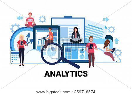 Business People Brainstorming Financial Graphs Analytics Concept Men Women Team Working Trade Statis