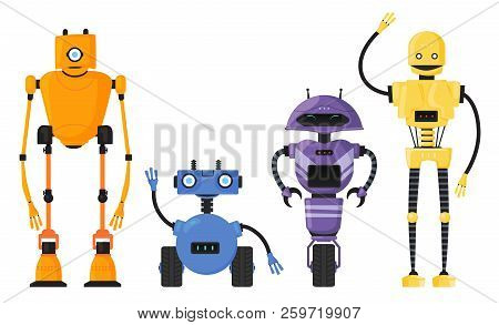 Cute Detailed Robot Set Vector Isolated. Cartoon Robotic Character