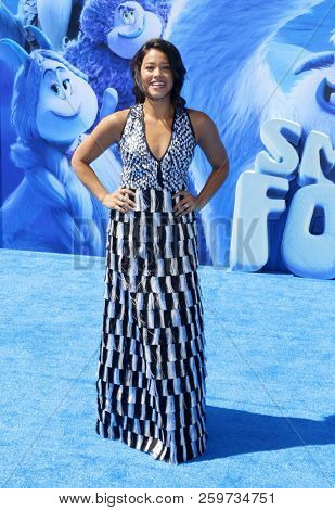 Gina Rodriguez at the Los Angeles premiere of 'Smallfoot' held at the Regency Village Theatre in Westwood, USA on September 22, 2018.