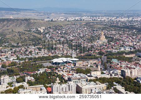 Tbilisi, Georgia - September 02, 2018 Panoramic Aerial View Of Tbilisi City From Mtatsminda Mountain