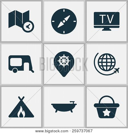 Trip Icons Set With Map With Time, Compass, Tent With Fire And Other Tub Elements. Isolated Vector I