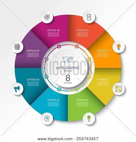 Circular Infographic Flow Chart. Process Diagram Circle Or Pie Graph With 8 Options, Parts, Segments