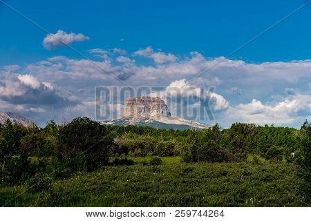 Chief Mountain Overlooking From Police Outpost Provincial Park In South West Alberta Near Waterton N