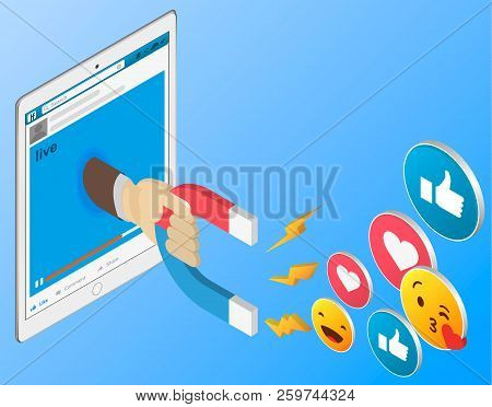 Mobile Internet Surfing Dive Into The Www Web Concept. Flat 3d Isometric Isometry Web Vector Illustr