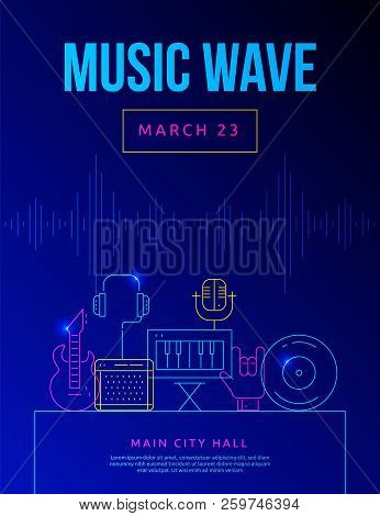 Colorful Sound System Pixel Perfect Line Icons Set, Music Wave Festival Concept.electric Guitar, Mus