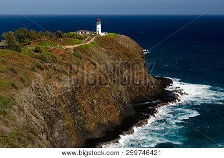 Kilauea Lighthouse On A Sunny Day - Kauai Island, Hawaii, Usa