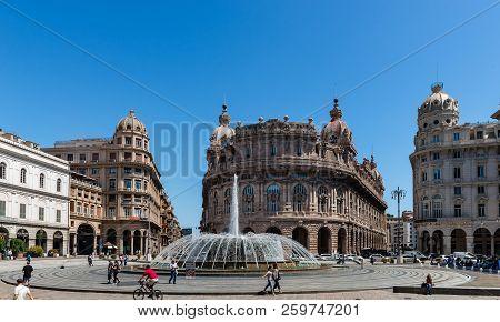 Genoa, Italy - May 29, 2018: View Of Piazza Raffaele De Ferrari, With Palazzo Dell Accademia Ligusti