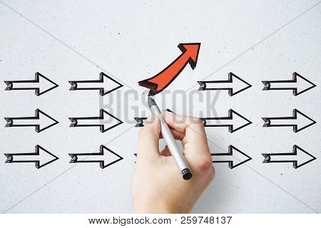 Hand Drawing Different Arrows On Light Background. Leadership, Different Direction And Choice Concep