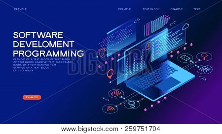 Technology Concept. Programming Web Banner. Best Programming Languages. Technology Process Of Softwa