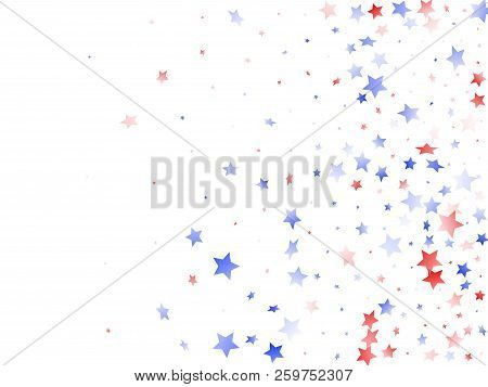 American Memorial Day Stars Background. Holiday Confetti In Usa Flag Colors For Presidents Day. Fest