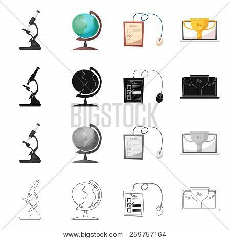 Vector Illustration Of Education And Learning Icon. Set Of Education And School Stock Vector Illustr