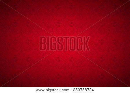 Red Vintage Background , Royal With Classic Baroque Pattern, Rococo With Darkened Edges Background(c