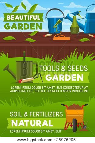 Gardening Tools And Equipment, Garden Shop Vector Design. Shovel, Spade And Fork, Watering Can, Hose