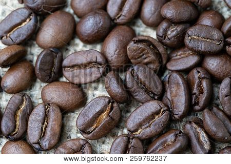 Best Select Coffee Beans Business Drink And Beverage Concept, Closed Up Of Roasted Coffee Beans On G