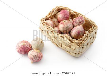 Garlic In A Wicker Basket