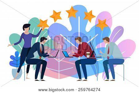 Five Stars Business Team Working Talking Together At Big Conference Desk. Illustration On White Back