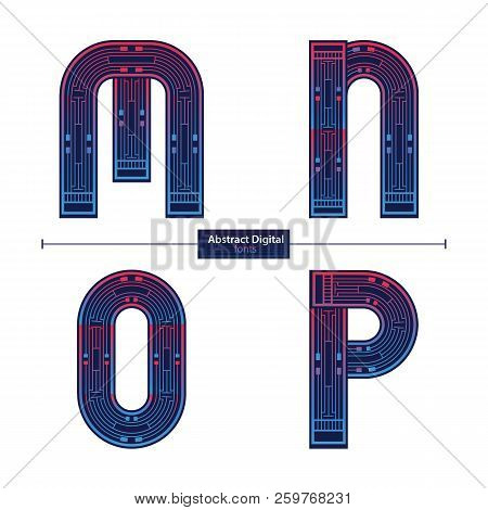 Vector Graphic Alphabet In A Set M,n,o,p, With Digital Color Style