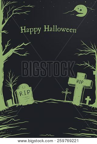 Vector Illustration Of Halloween Background, Cemetery Or Grave Yard With Headstone