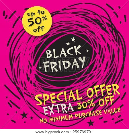 Abstract Black Friday Sale Banner, Vector Illustration