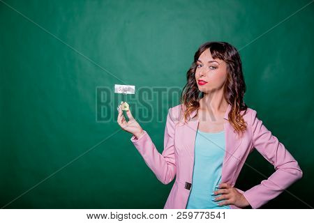 Smiling Businesswoman, Makler With A Model House. House For Sale.real Estate Agent Woman With House