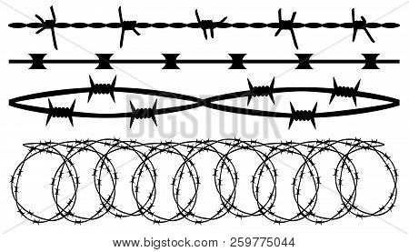 Barbed Wire, Seamless Brush. Barbwire Set Isolated Silhouette, Vector Background