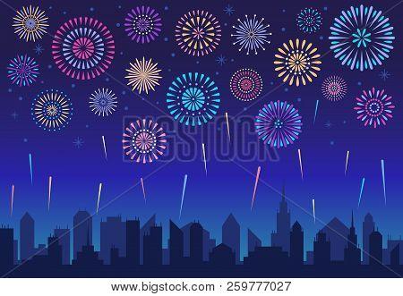 Night City Fireworks. Holiday Celebration Firework, Celebrated Festive Firecracker Over Town Silhoue
