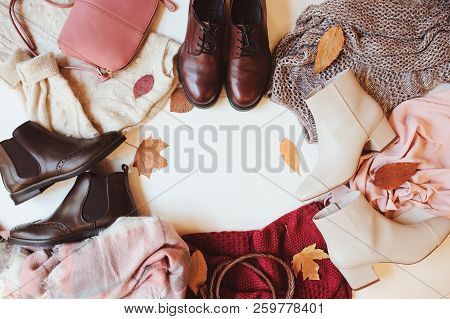 Set Of Seasonal Autumn Fashion Woman Clothes, Top View With Copy Space. Trendy Shoes, Sweater And Ha