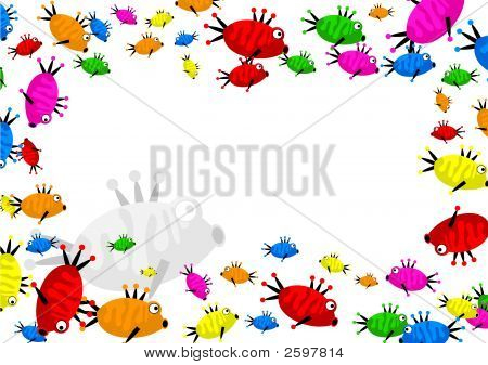 decorative cartoon colourful fish page border frame design poster