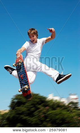 Skateboarder on a high jump