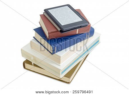 E-reader In The Cover With Blurred Text On Screen Lying On Stack Of The Ordinary Printed Books On A