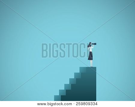 Business Woman Leader Vector Concept. Businesswoman Standing On Top Of Stairs With Telescope. Symbol