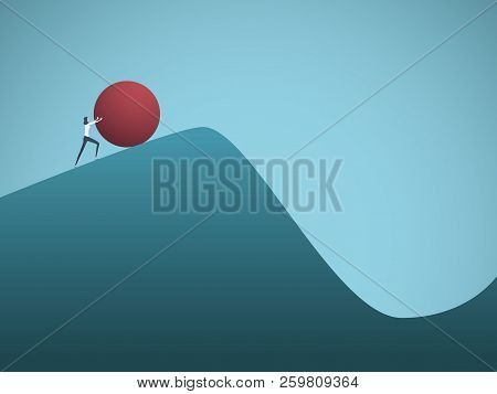 Businesswoman Pushing Boulder Uphill Vector Concept Of Sisyphus. Symbol Of Hard Work, Futile Effort,