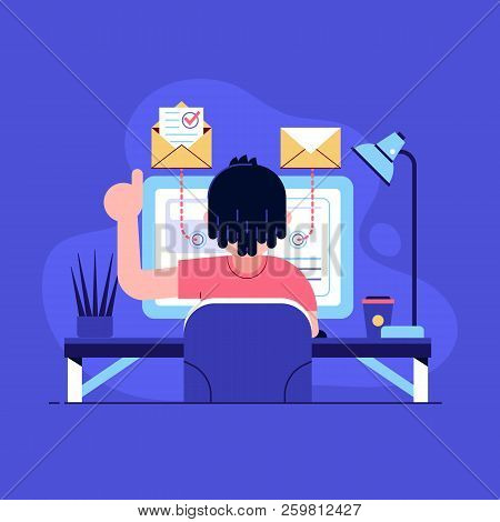 Freelancer Sending And Getting Message On Laptop At Home. Man Sitting And Working On Internet Using