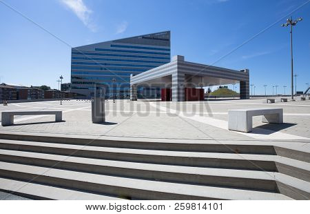 Milan, Italy, June 7, 2017 - Piazza Gino Valle (gino Valle Square), Home To Many Modern Buildings Su