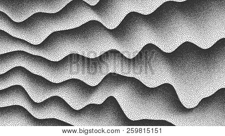 3d Abstract Vector Smooth Liquid Curved Lines Retro Style Dotwork Background. Hand Made Dotted Stipp