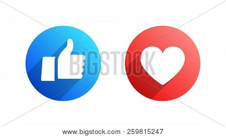 Facebook Like and Heart Vector Icons Isolated on White Background. Design Elements for SMM, CEO, APP, UI, UX, Marketing, Business, Advertisement, Digital Network