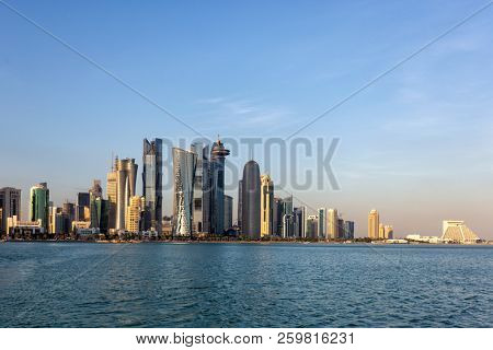 DOHA, QATAR -January 31, 2016: Doha's business district skyline shortly before sunset, seen from the bay.