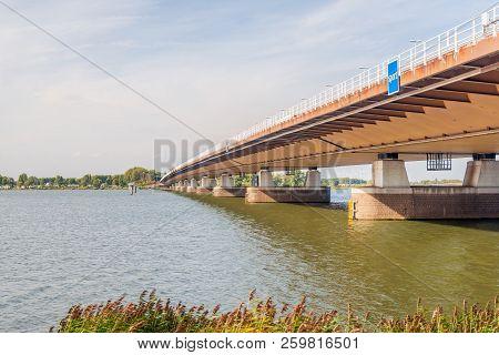 Bottom View Of The Moerdijk Traffic Bridge Over The Hollandsch Diep River And Part Of The A16 Motorw