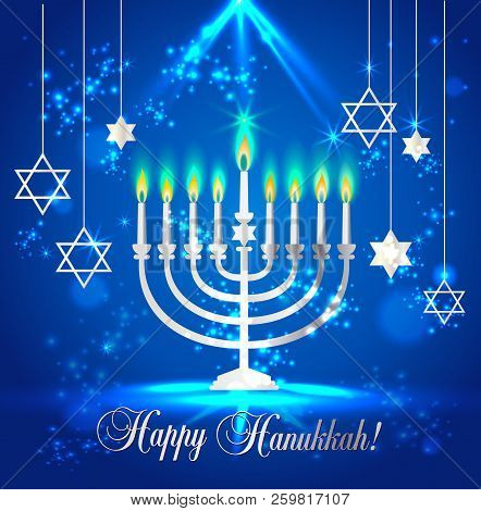 Happy Hanukkah Shining Background With Menorah, David Star And Bokeh Effect. Vector Illustration On