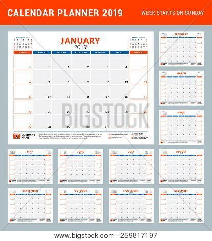 Calendar Planner Stationery Design Template For 2019 Year. Vector Illustration. Week Starts On Sunda