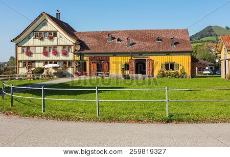 Appenzell, Switzerland - September 20, 2018: View In The Town Of Appenzell. Appenzell Is The Capital