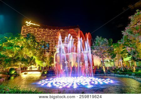 Las Vegas, Nevada, United States - August 18, 2018: Wynn Las Vegas Colorful Fountain Show By Night,
