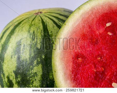 Studio Shot Of Watermelon Cut In Half