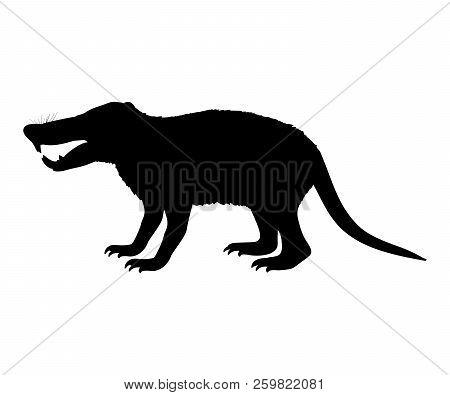 Deinogalerix Hedgehog Rat Silhouette Extinct Mammal Animal. Vector Illustration