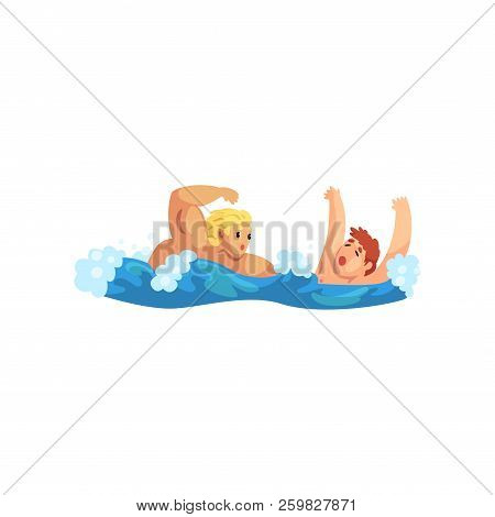 Male Lifeguard Saving A Drowning Man, Professional Rescuer On Duty Vector Illustration On A White Ba