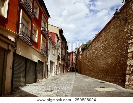 Teruel, Spain - July 21, 2018: Old Buildings Located In The La Andaquilla Street In The Teruel, Spai